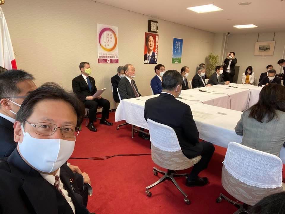 自民党役員連絡会が始まるところです。