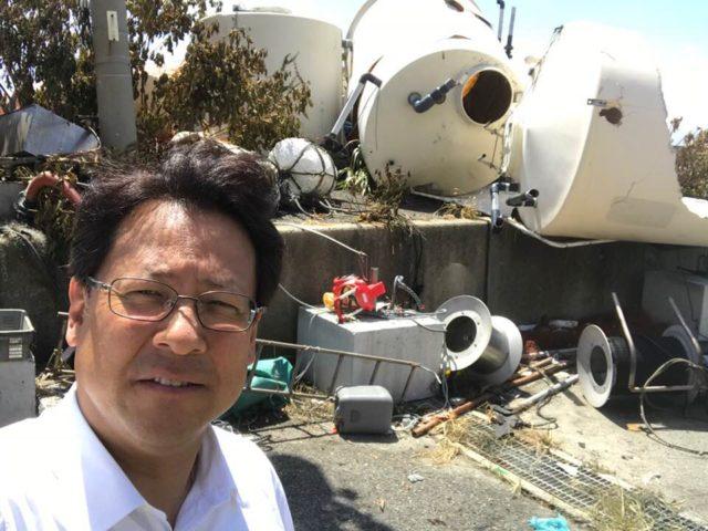 台風で垂水区塩屋の漁港海苔加工工場が被害を被りました。