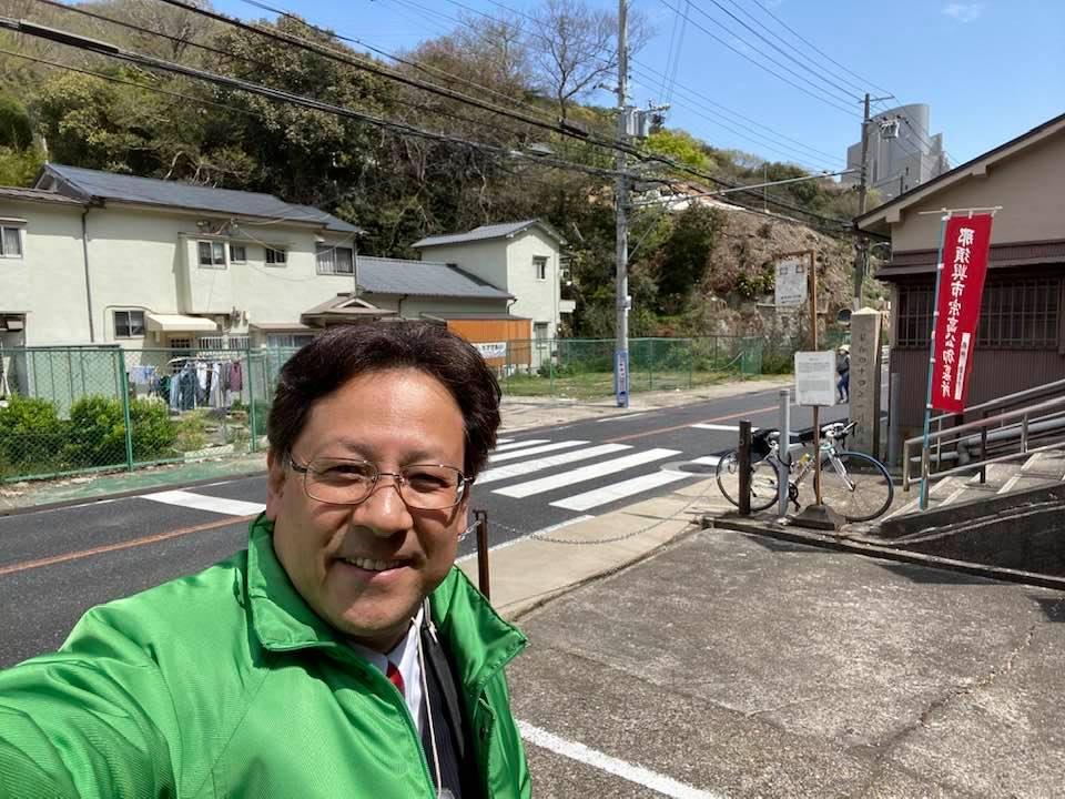 垂水妙法寺線(禅昌寺)の道路の拡幅工事が実施されています。